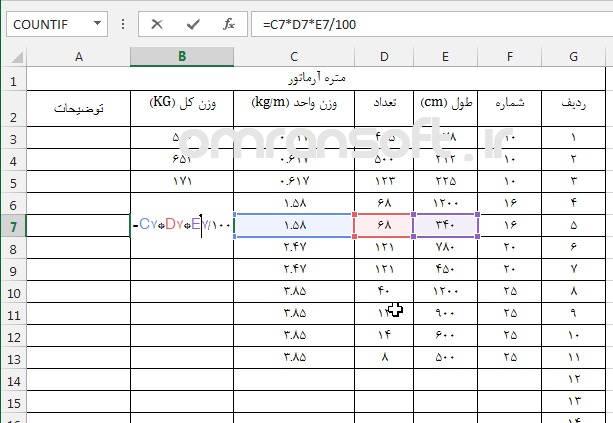 Cell References in Excel آدرس دهی در اکسل 2