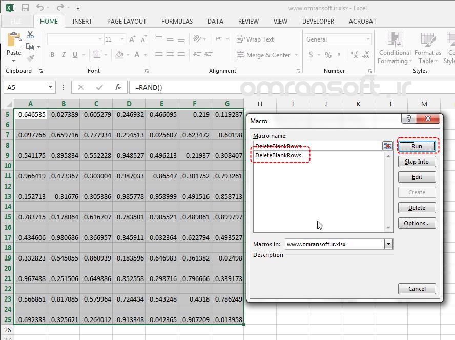 Remove Blank Rows and Columns حذف سطرها و ستونهای خالی در اکسل (14)