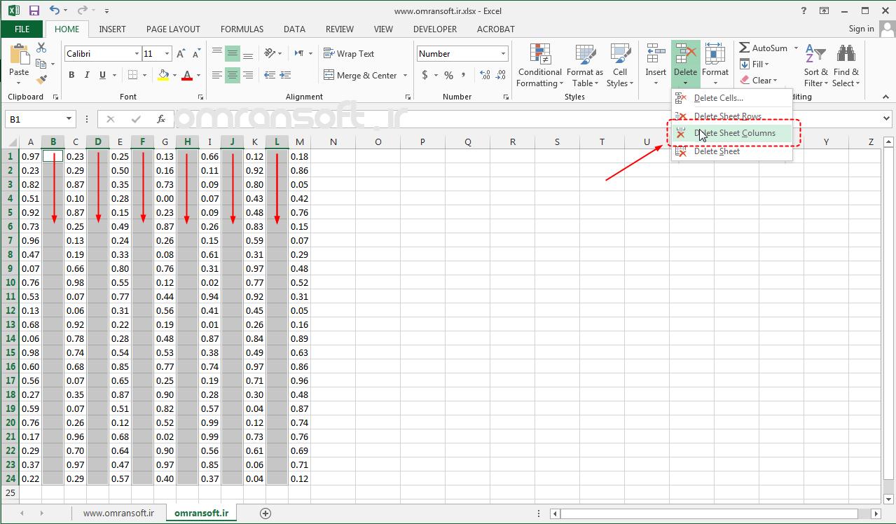 Remove Blank Rows and Columns حذف سطرها و ستونهای خالی در اکسل (5)